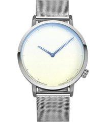 reloj hombre clasico acero inoxidable negocios 403-b plateado blanco