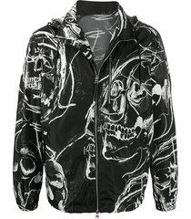 alexander mcqueen skull-print zip up jacket - black