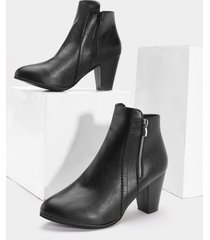 botines de cuero de tacón grueso con cremallera lateral