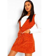 petite corduroy mini jurk met laag decolleté, roest