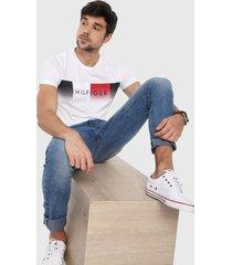 camiseta blanco-azul navy-rojo tommy hilfiger