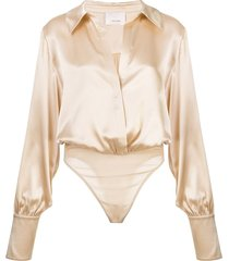 cinq a sept carine satin bodysuit - neutrals
