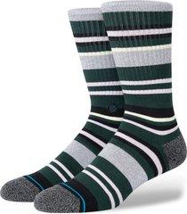 men's stance men's shay stripe socks, size large - grey