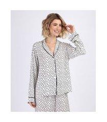 camisa de pijama feminino estampada de poá com vivo contrastante manga longa off white