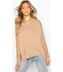 loose fitting boxy top, camel