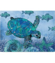 "jean plout 'ocean blues turtle' canvas art - 14"" x 19"""