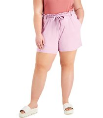 full circle trends trendy plus size belted paperbag-waist shorts