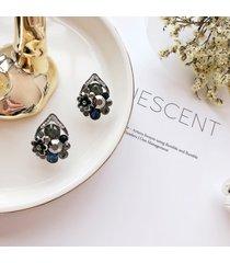 s925 orecchini vintage a spillo in argento antico con borchie a forma di fiore con strass all'orecchio per le donne