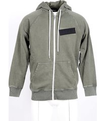 diesel designer sweatshirts, green washed cotton men's zip front hoodie