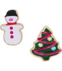 betsey johnson festive snowman mismatched stud earrings