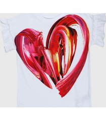 camiseta blanco-rojo desigual