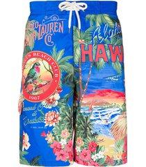 polo ralph lauren short de natação com estampa hawaii - azul