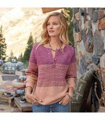 sundance catalog women's avedon henley sweater in hibiscus large