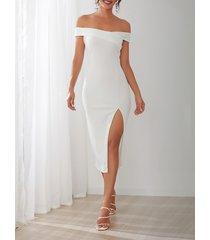 yoins hendidura diseño del hombro vestido