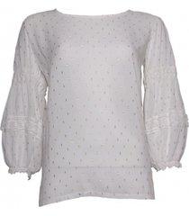 20 to a20351 041 blouse lurex dots latte wit