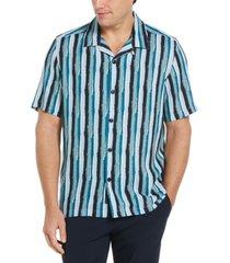men's paint stripe camp collar soft short sleeve button - down shirt