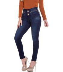 jeans colombiano con control de abdomen azul daxxys jeans