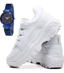 tãªnis sapatãªnis casual plataforma fashion com relã³gio sky feminino dubuy 728el branco - branco - feminino - sintã©tico - dafiti