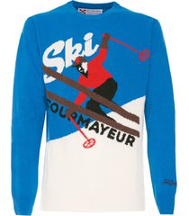 mc2 saint barth man bluette and white sweater courmayeur postcard