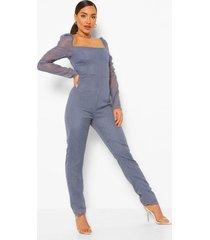 dobby mesh jumpsuit met hartvormige hals, dusty blue