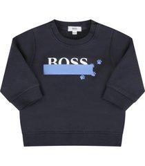 hugo boss blue sweatshirt for baby boy with logo