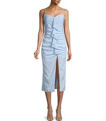 likely women's sallie floral ruffle sheath dress - blue bell - size 8