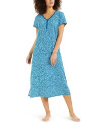 charter club printed cotton short sleeve nightgown, created for macy's