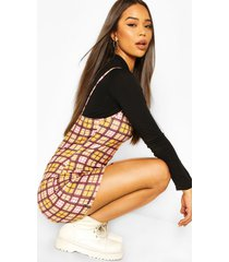 flannel long sleeve funnel neck slip dress, mustard