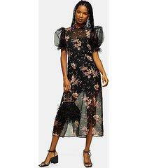 black floral printed organza midi dress - multi
