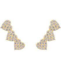 orecchini a lobo in oro giallo con tre cuori e zirconi per donna