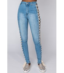 akira rock the runway lace up skinny jeans