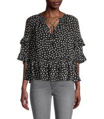 diane von furstenberg women's annabel polka dot ruffle blouse - dot flowers - size xs