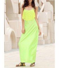 backless lace trim spaghetti strap floor length dress