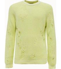 laneus maglia girocollo in cotone giallo