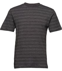 slhmartin stripe ss high neck tee b t-shirts short-sleeved grå selected homme