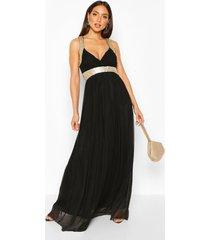 boutique maxi bruidsmeisjes jurk met pailletten en panelen, zwart