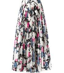 la doublej pleated floral skirt - white