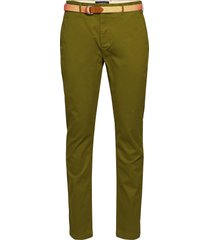 ams blauw stretch stuart chino with belt chino broek groen scotch & soda