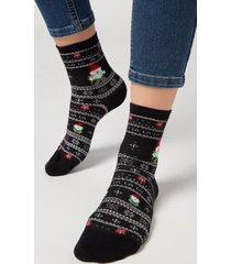 calzedonia christmas pattern cotton ankle socks woman black size tu