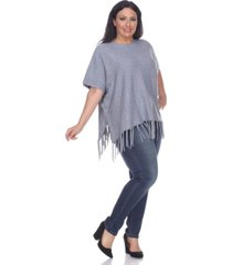 white mark plus size megara side buttoned fringe poncho