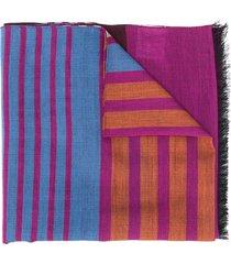 paul smith striped print scarf - purple