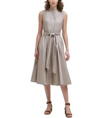 calvin klein cotton belted a-line dress