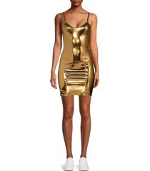 lisa marie fernandez women's spaghetti strap mini dress - bronze - size s