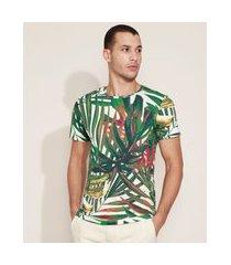 camiseta masculina slim estampada de folhagens manga curta gola careca verde