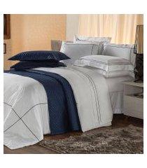 jogo de cama casal plumasul premium harmonious 4 pçs bordado azul