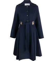 lanvin spread-collar tied-waist coat - blue