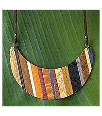 wood pendant necklace, 'striped crescent moon' (brazil)