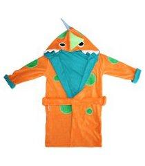 roupáo de banho dani lessa dinossauro laranja