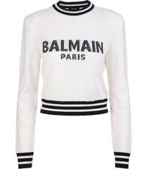 balmain woman white short pullover with logo