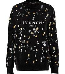 givenchy logo embroidery crew-neck sweatshirt